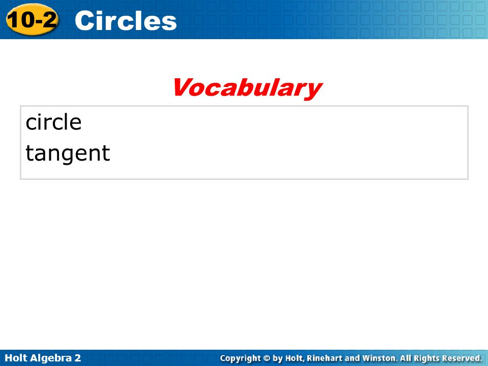 Vocabulary circle tangent