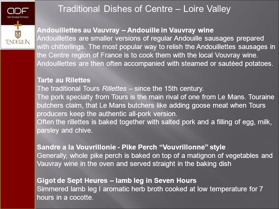 Traditional Dishes of Centre – Loire Valley
