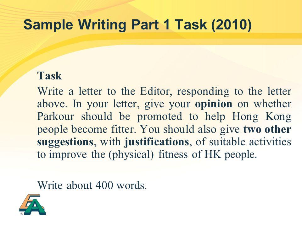 Sample Writing Part 1 Task (2010)