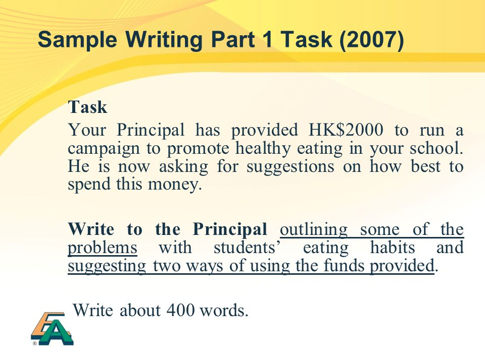 Sample Writing Part 1 Task (2007)