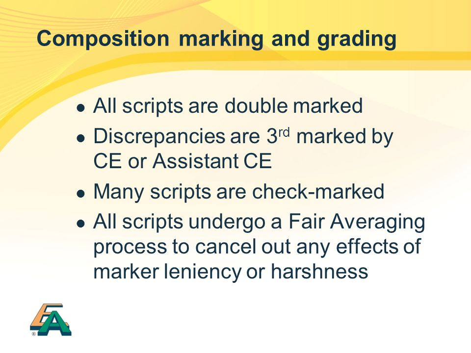 Composition marking and grading