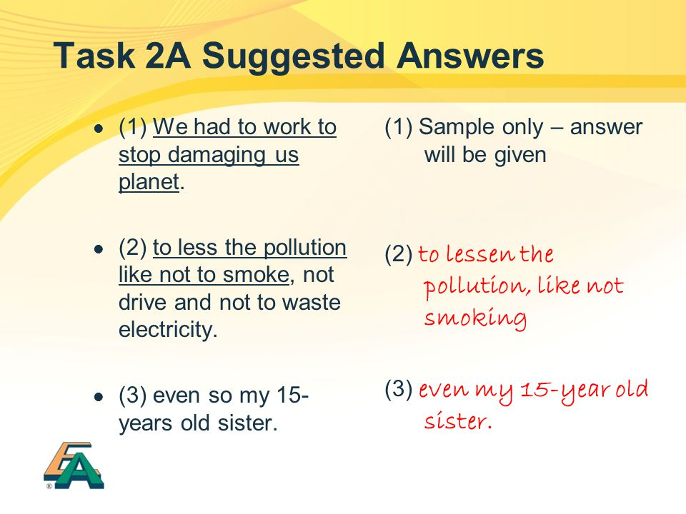 Task 2A Suggested Answers