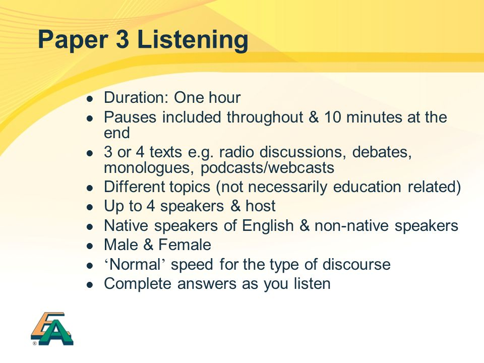 Paper 3 Listening Duration: One hour