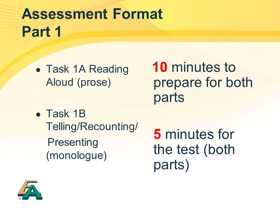 Assessment Format Part 1