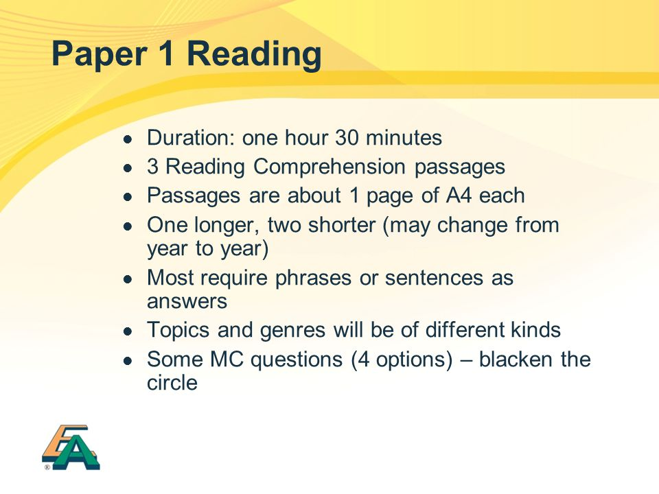 Paper 1 Reading Duration: one hour 30 minutes