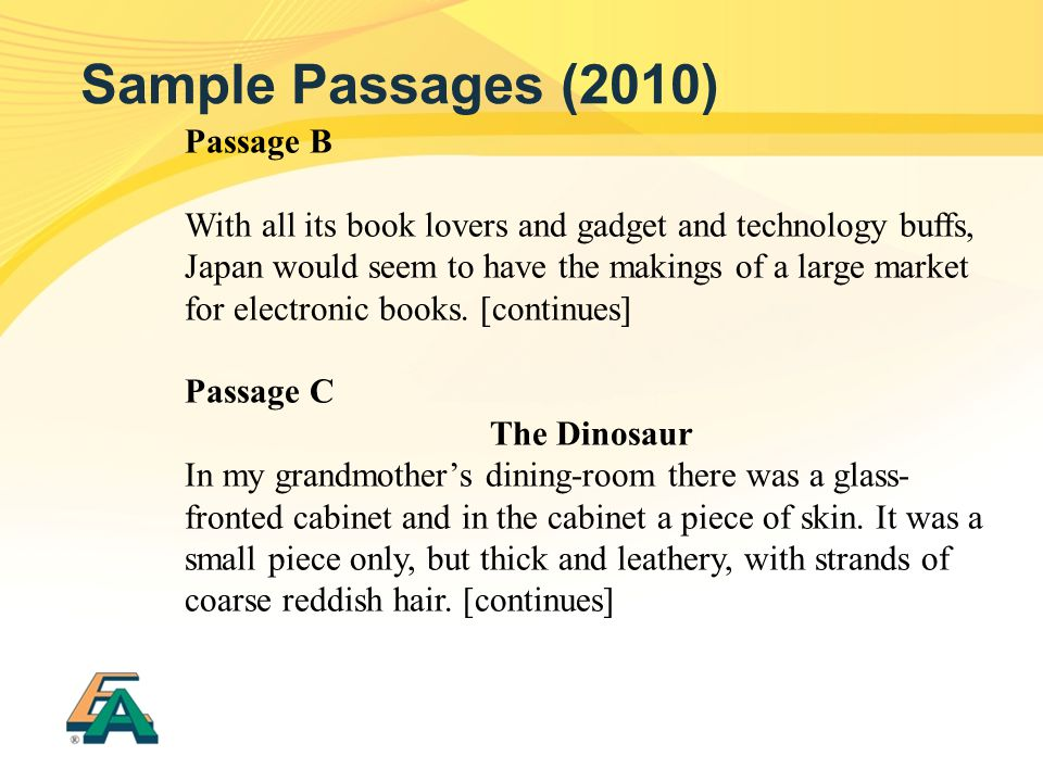 Sample Passages (2010) Passage B