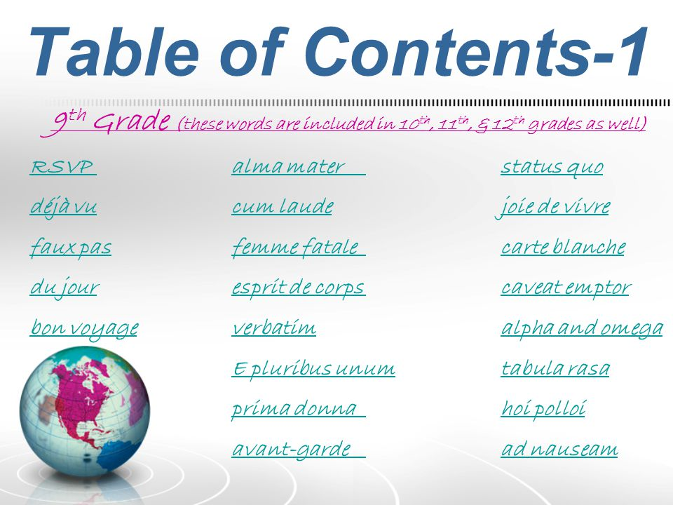 Table of Contents-1 9th Grade (these words are included in 10th, 11th, & 12th grades as well) RSVP alma mater status quo.