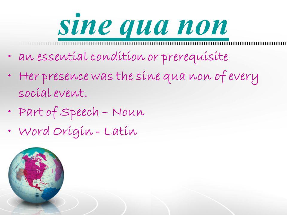 sine qua non an essential condition or prerequisite