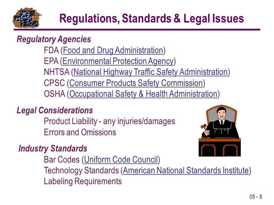 Regulations, Standards & Legal Issues
