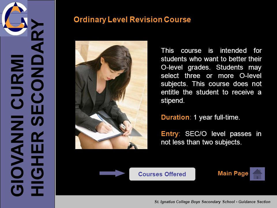 HIGHER SECONDARY GIOVANNI CURMI Ordinary Level Revision Course