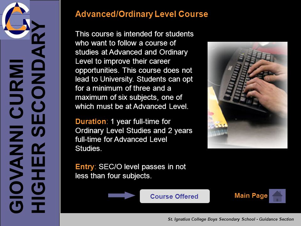HIGHER SECONDARY GIOVANNI CURMI Advanced/Ordinary Level Course