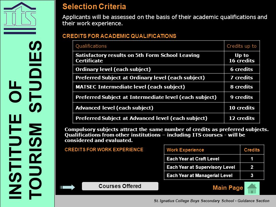 TOURISM STUDIES INSTITUTE OF Selection Criteria Main Page