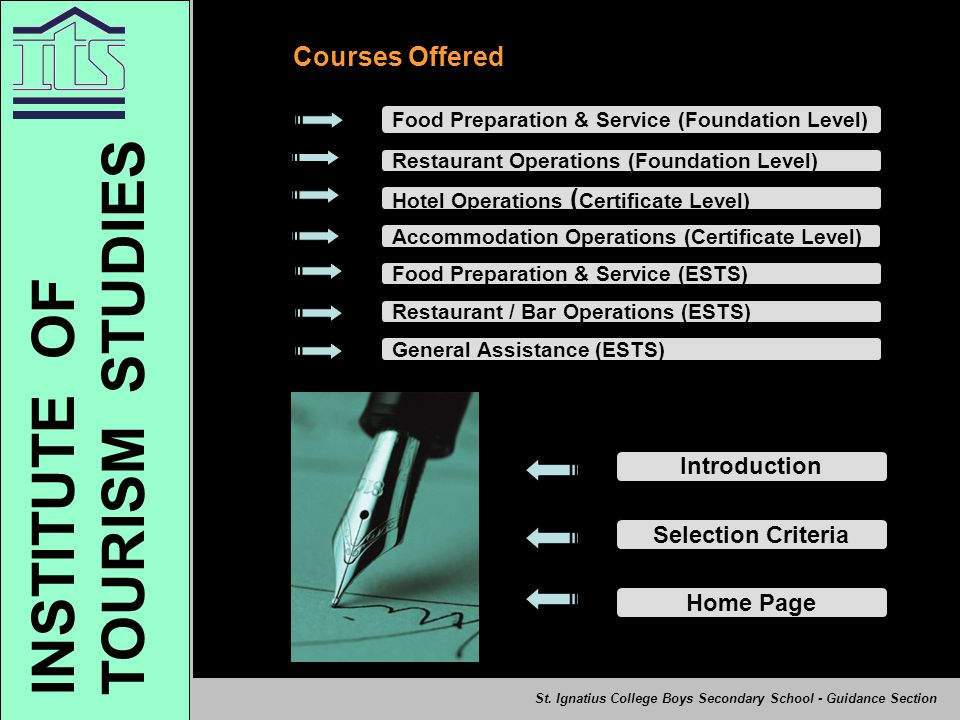 TOURISM STUDIES INSTITUTE OF Courses Offered Introduction