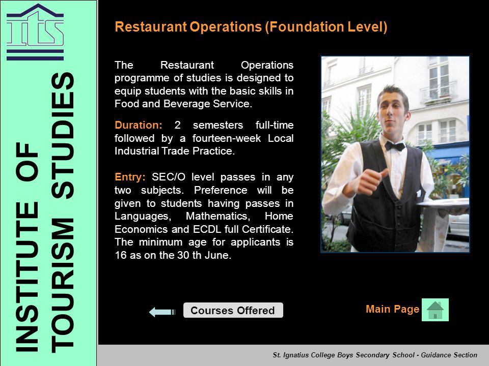 TOURISM STUDIES INSTITUTE OF Restaurant Operations (Foundation Level)