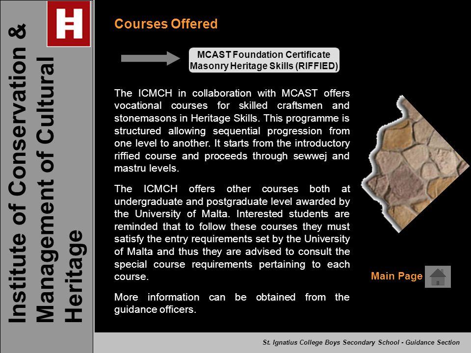 MCAST Foundation Certificate Masonry Heritage Skills (RIFFIED)