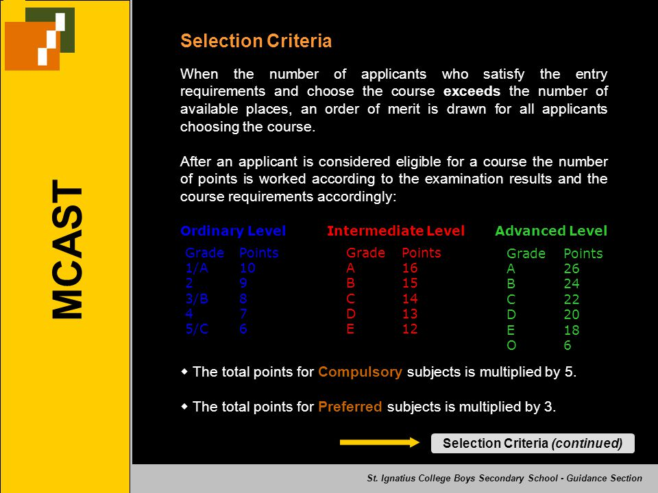 Selection Criteria (continued)