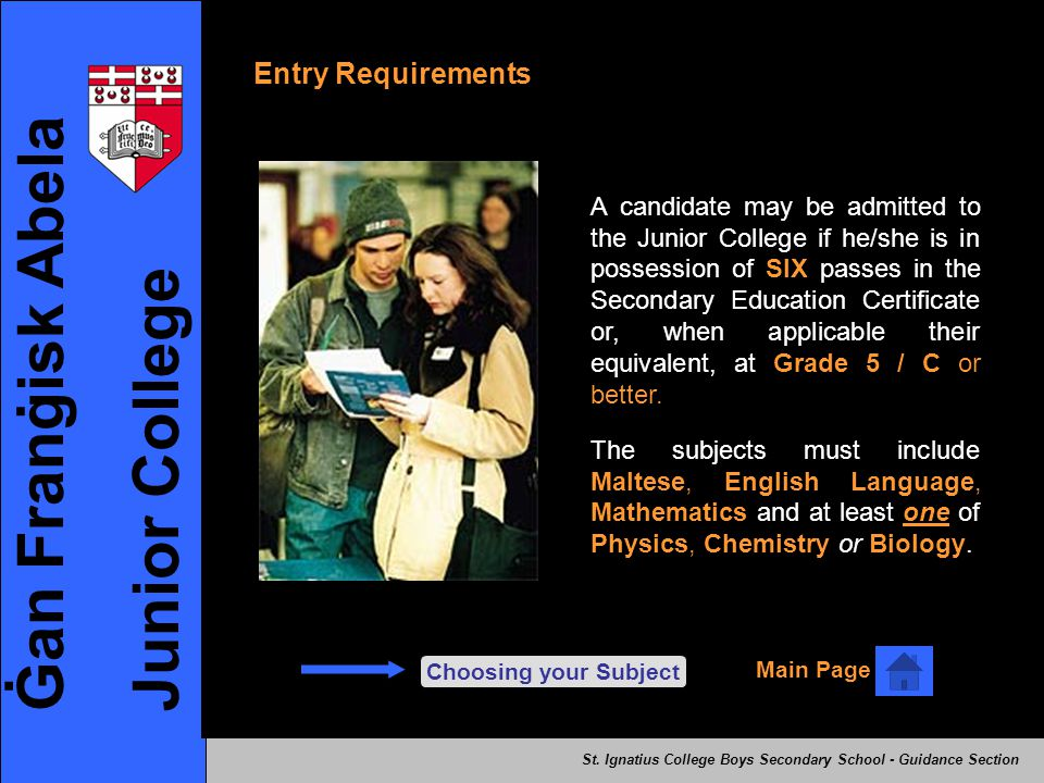 Ġan Franġisk Abela Junior College Entry Requirements