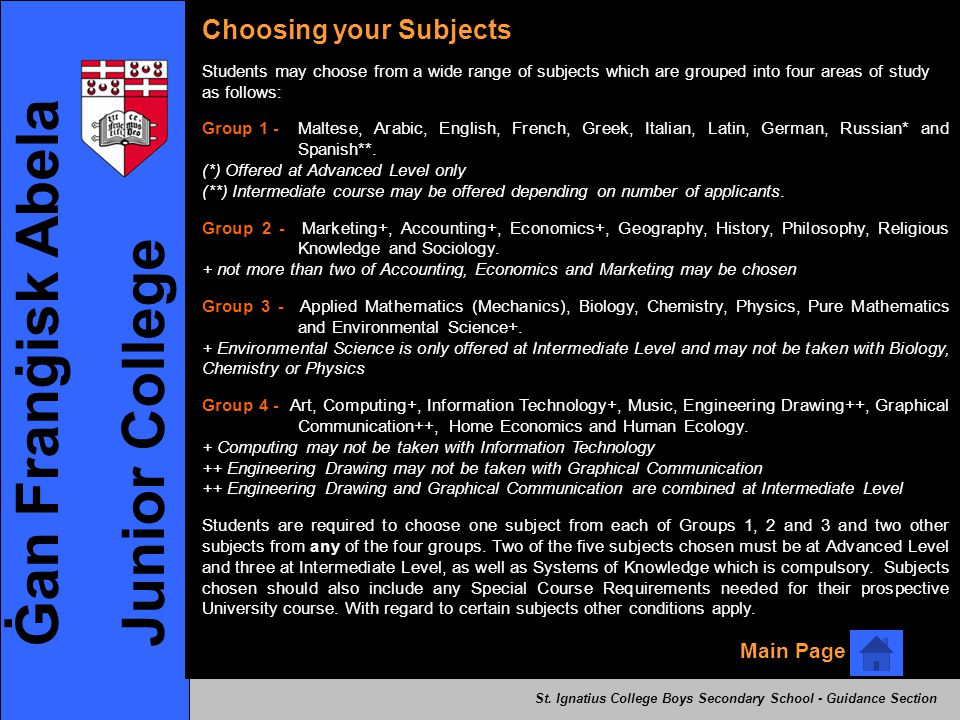 Ġan Franġisk Abela Junior College Choosing your Subjects Main Page