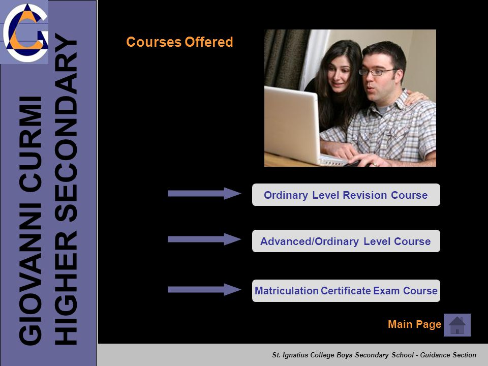 HIGHER SECONDARY GIOVANNI CURMI Courses Offered