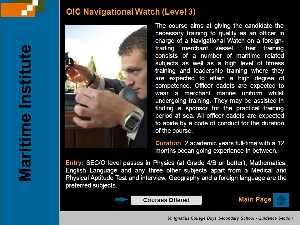 Maritime Institute OIC Navigational Watch (Level 3) Main Page