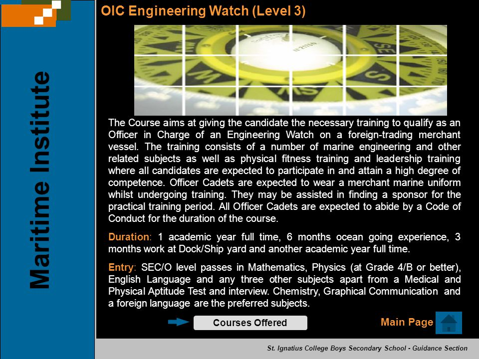 Maritime Institute OIC Engineering Watch (Level 3) Main Page