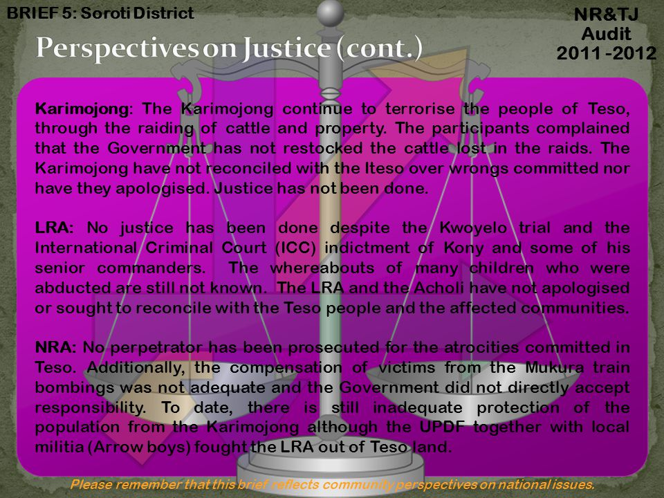 Perspectives on Justice (c0nt.)