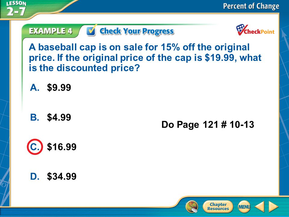 A baseball cap is on sale for 15% off the original price
