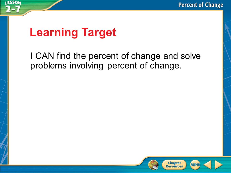 Learning Target I CAN find the percent of change and solve problems involving percent of change.