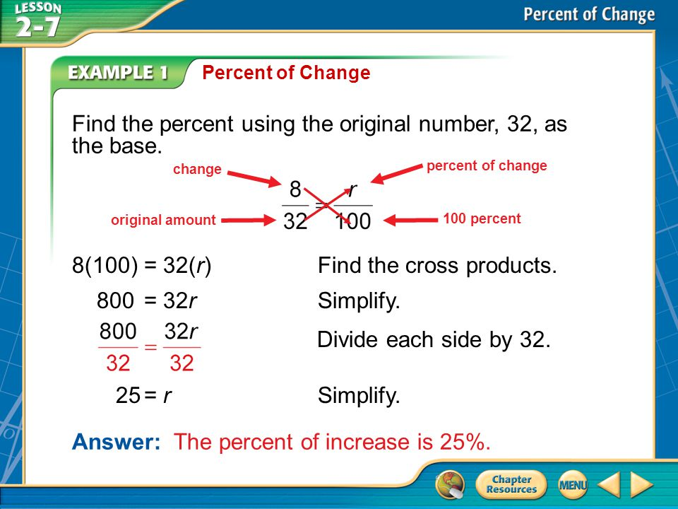 Find the percent using the original number, 32, as the base.