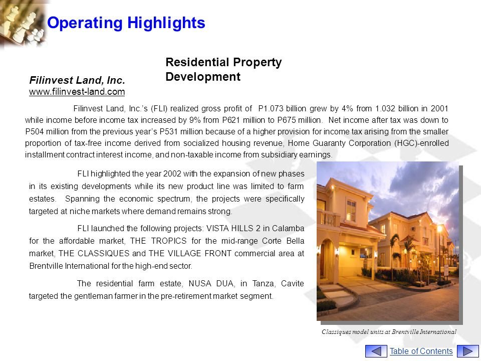 Operating Highlights Residential Property Development