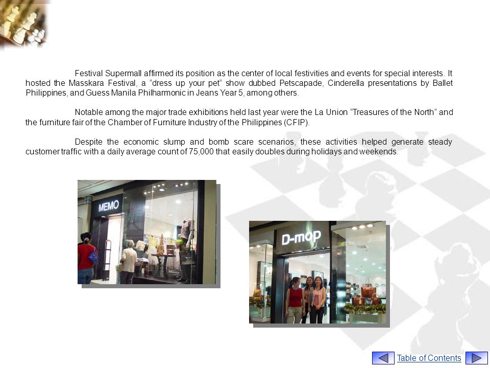 Festival Supermall affirmed its position as the center of local festivities and events for special interests. It hosted the Masskara Festival, a dress up your pet show dubbed Petscapade, Cinderella presentations by Ballet Philippines, and Guess Manila Philharmonic in Jeans Year 5, among others.