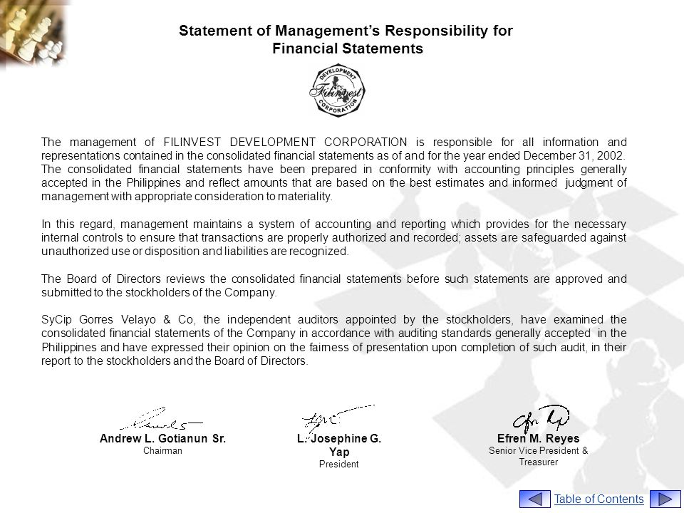 Statement of Management's Responsibility for