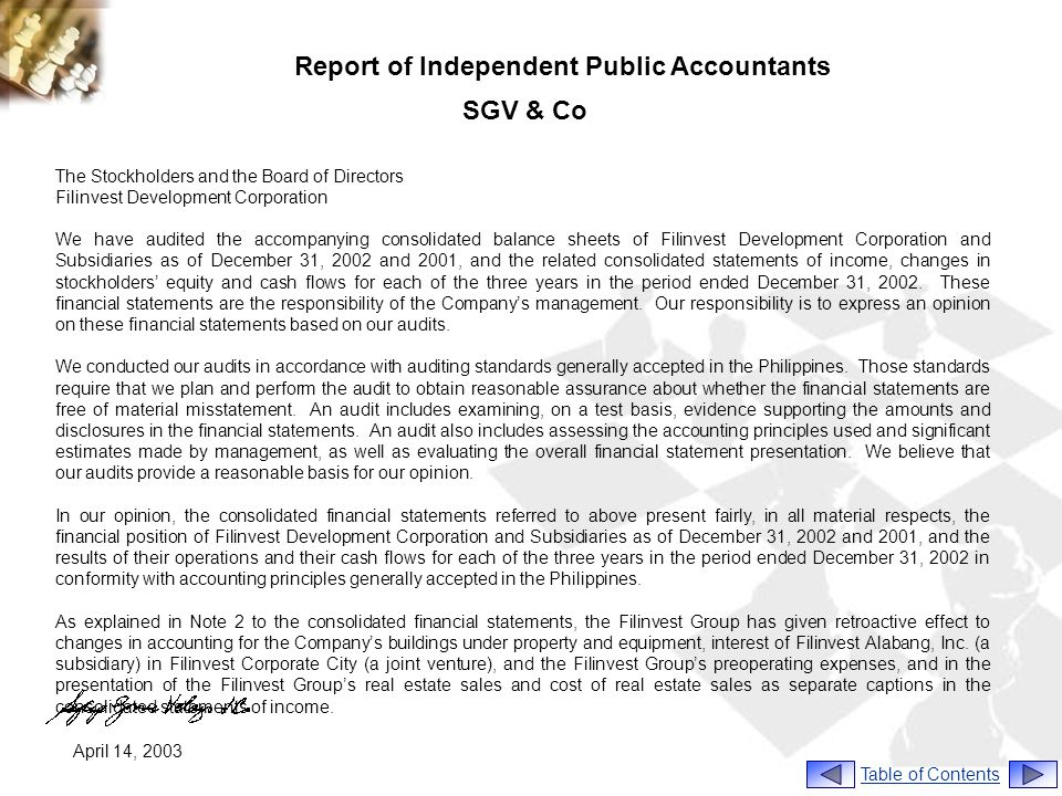 Report of Independent Public Accountants