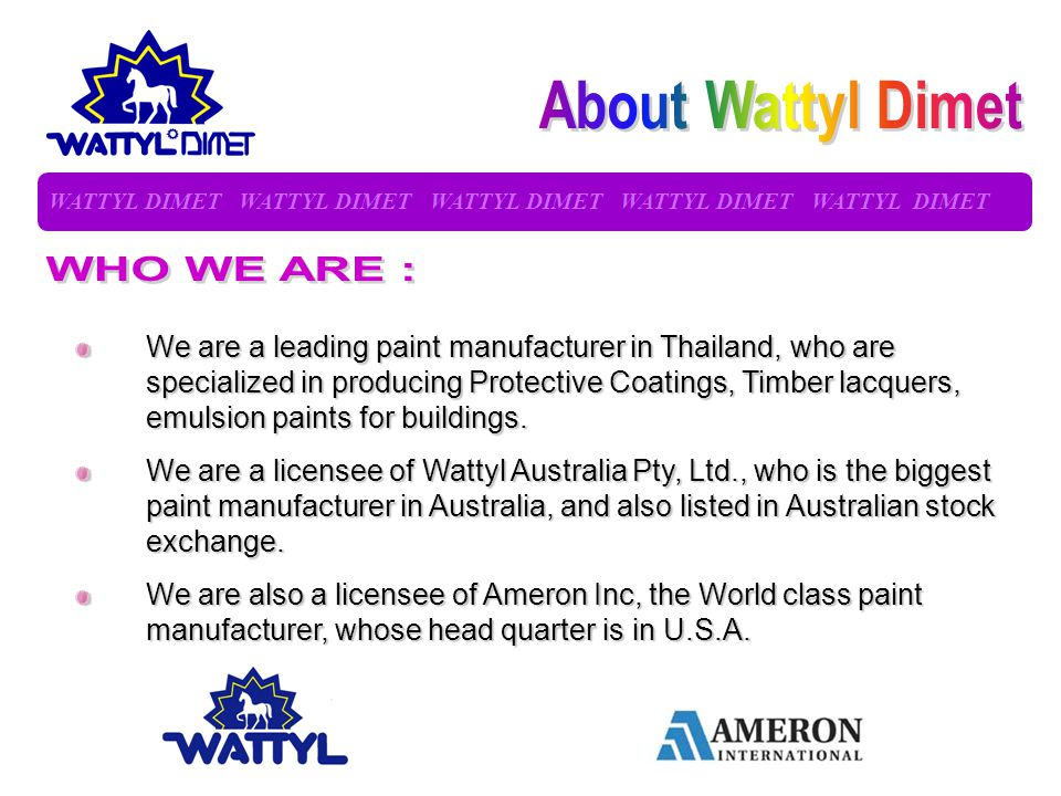 About Wattyl Dimet WHO WE ARE :