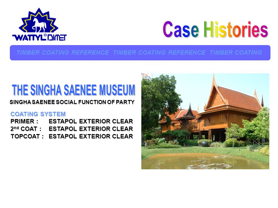 Case Histories THE SINGHA SAENEE MUSEUM