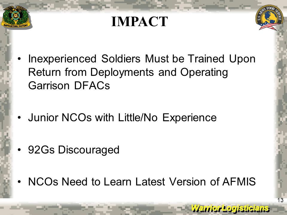 IMPACT Inexperienced Soldiers Must be Trained Upon Return from Deployments and Operating Garrison DFACs.