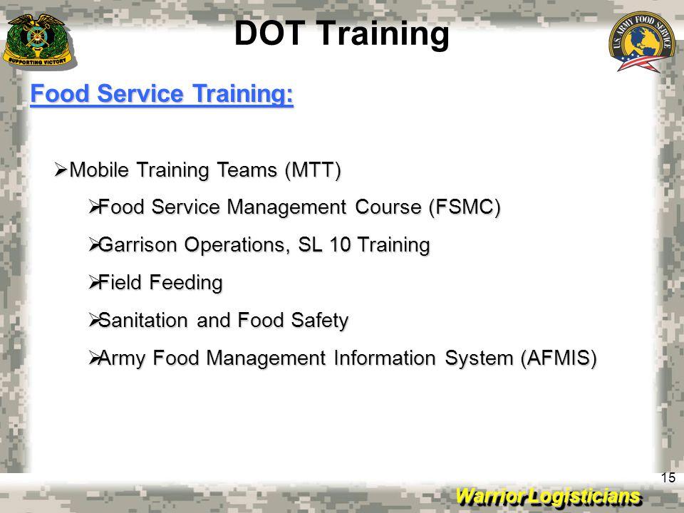 DOT Training Food Service Training: Mobile Training Teams (MTT)