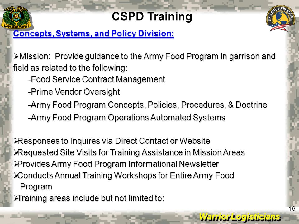 CSPD Training Concepts, Systems, and Policy Division: