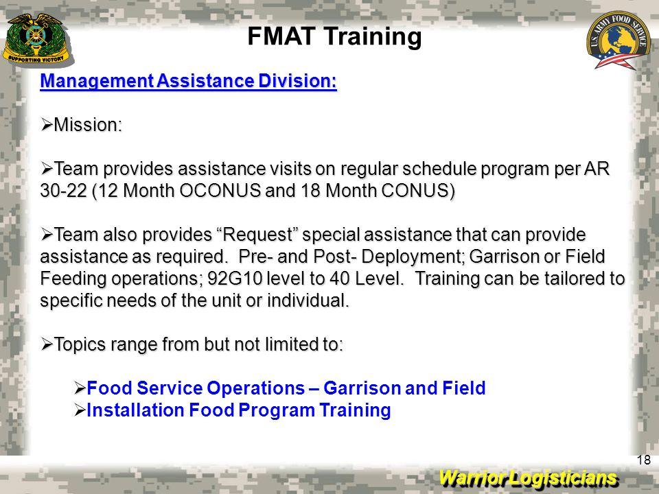FMAT Training Management Assistance Division: Mission:
