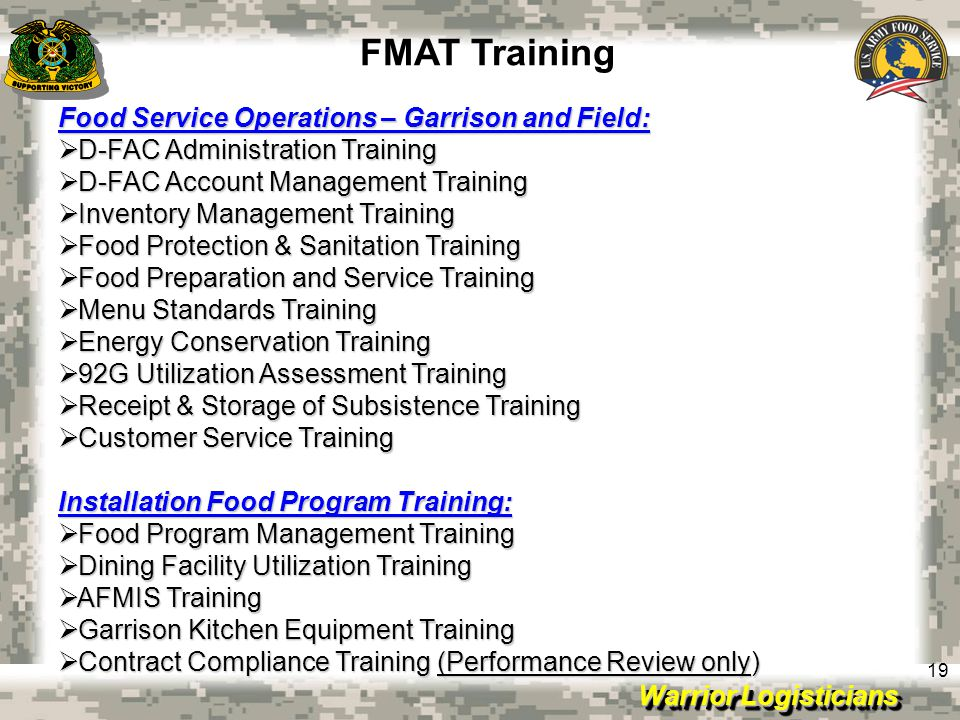 FMAT Training Food Service Operations – Garrison and Field: