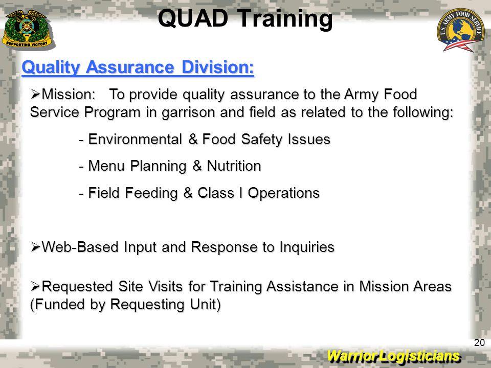 QUAD Training Quality Assurance Division: