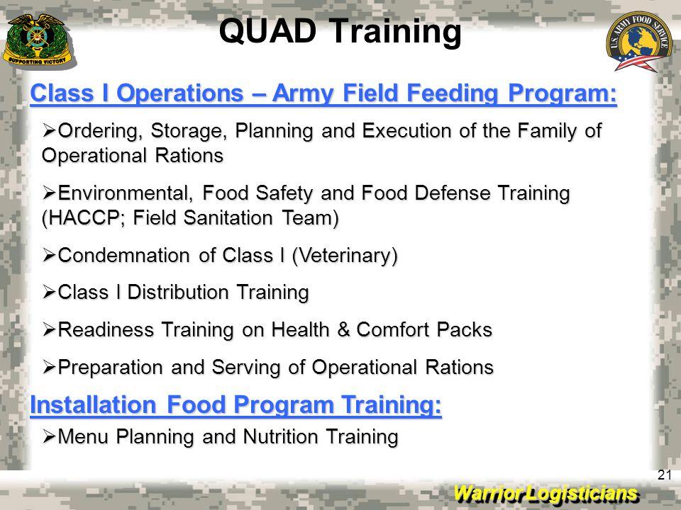 QUAD Training Class I Operations – Army Field Feeding Program: