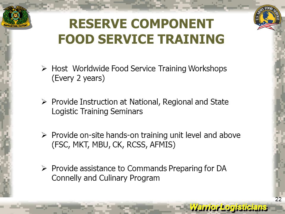 RESERVE COMPONENT FOOD SERVICE TRAINING