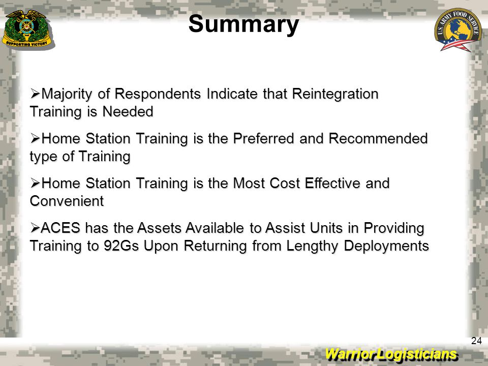 Summary Majority of Respondents Indicate that Reintegration Training is Needed.