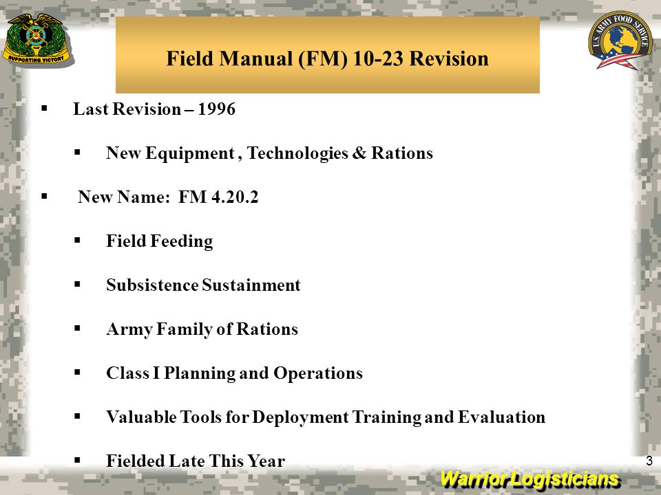 Field Manual (FM) 10-23 Revision