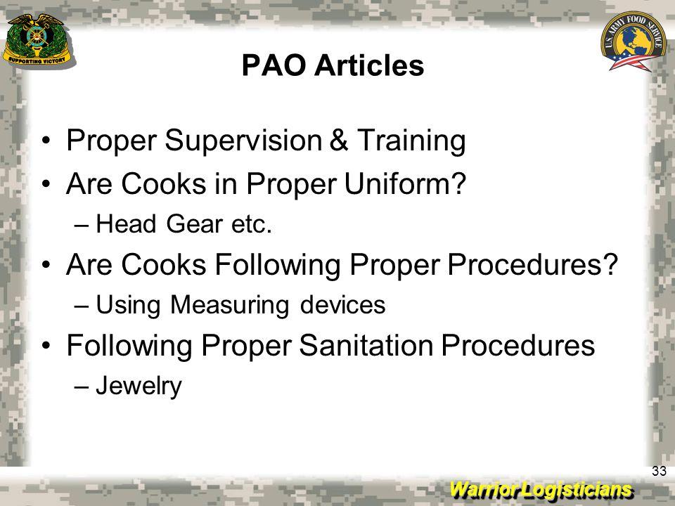 Proper Supervision & Training Are Cooks in Proper Uniform