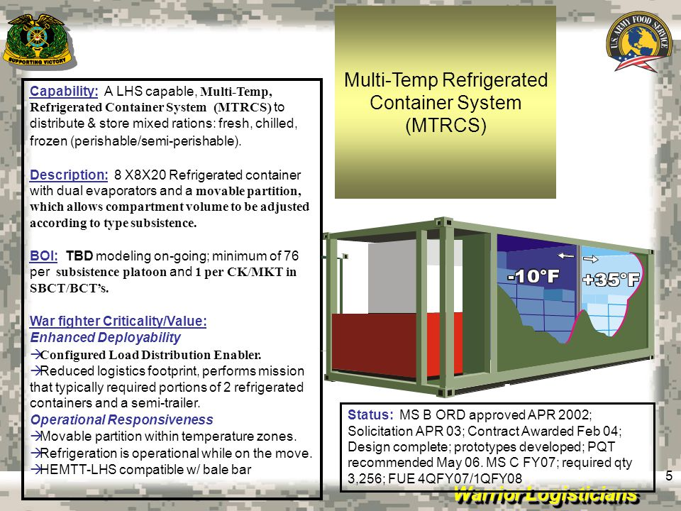 Multi-Temp Refrigerated Container System (MTRCS)