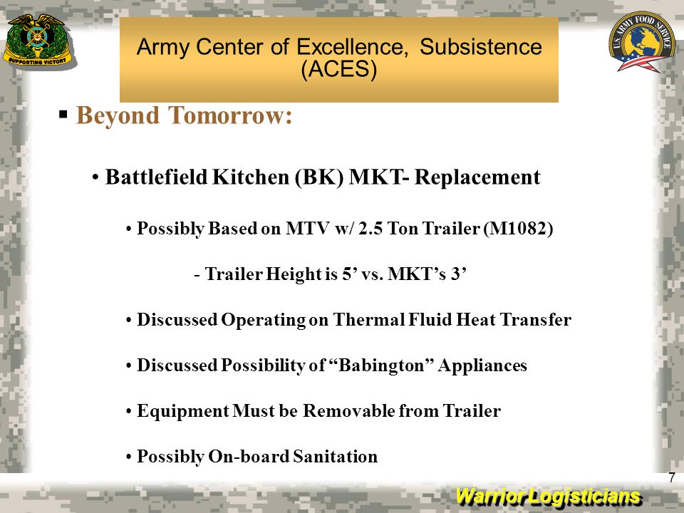 Army Center of Excellence, Subsistence (ACES)