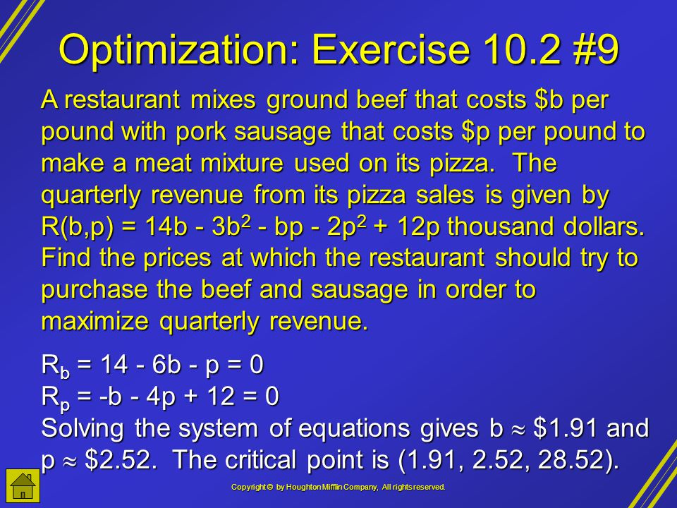 Optimization: Exercise 10.2 #9