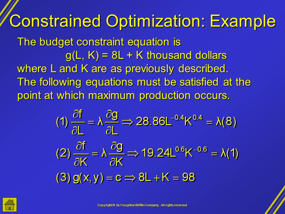 Constrained Optimization: Example